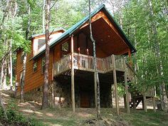 Woods & Water is a non-smoking cute as can be one bedroom, two bath chalet tucked in the woods on Round Top Mountain. As the name indicates, you can sit out on the covered porch and take in the serene wooded views and see the reflection of nature's beauty in the small pond in front of the cabin. #fun #cabin #woods #mountain