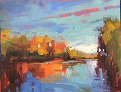 "Daily Paintworks - ""Willamette River"" - Original Fine Art for Sale - © Marla Baggetta"