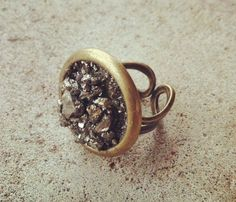 Rock steady ring - Chunky raw pyrite chips encompassed by a funky antique bronze.