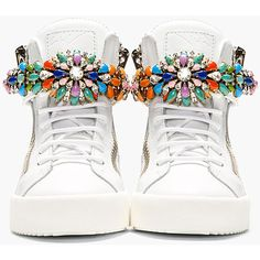 Giuseppe Zanotti White Jewel-Embellished High-Top Sneakers ($590) ❤ liked on Polyvore featuring shoes, sneakers, patike, white sneakers, colorful sneakers, velcro sneakers, white leather sneakers and white high top shoes