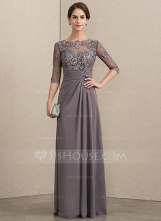 A-Line/Princess Scoop Neck Floor-Length Chiffon Lace Mother of the Bride Dress W. - A-Line/Princess Scoop Neck Floor-Length Chiffon Lace Mother of the Bride Dress With Beading Sequins - Mother Of The Bride Dresses Long, Mothers Dresses, Bride Groom Dress, Bride Gowns, Chiffon Evening Dresses, Chiffon Dress, Evening Gowns, Halter Dresses, Midi Dresses