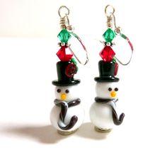 Snowman Earrings Christmas Earrings Holiday by Elegencebyelaine, $30.00