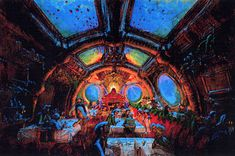 concept art for the once proposed Nemo grand Salon Restaurant as it was envisioned for the Discovery Mountain project.