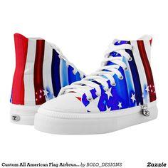 Custom All American Flag Airbrush Art Zipz Printed Shoes