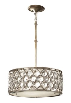 ENTRY - Feiss F2568/3BUS 3 Light Lucia Drum Large Pendant, Burnished Silver