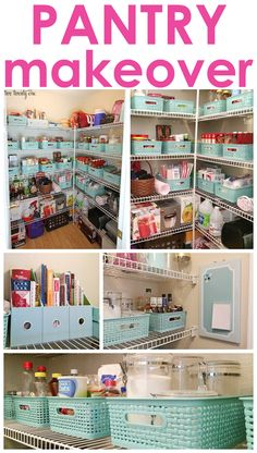 Organized pantry makeover! Pantry Storage, Pantry Organization, Kitchen Storage, Organized Pantry, Kitchen Decor, Pantry Ideas, Office Storage, Organize Food Pantry, Vertical Storage