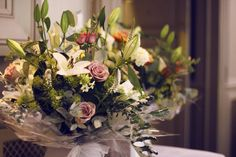 Gift bouquets for wedding reception - flowers designed by Angela Adlard Floristry Wirral