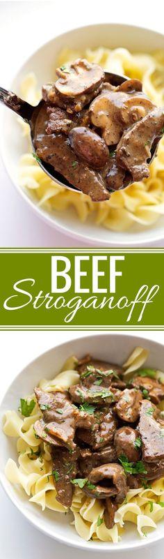 Beef Stroganoff - A simple 30 minute recipe that is super comforting! #stroganoff #beefstroganoff #comfortfood | Littlespicejar.com @littlespicejar