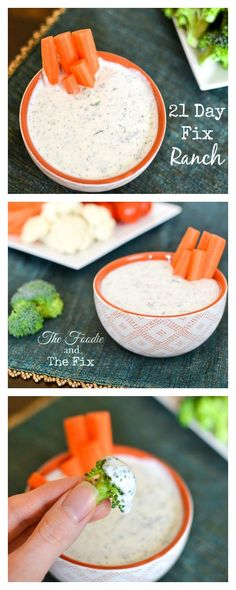 21 Day Fix Ranch Counts as Red cup low-fat cottage cheese 2 tbs or Greek yogurt 1 tbs tbs if you want to use this as a dressing) low-fat milk, skim milk or unsweetened plain almond milk 2 tsp lemon juice tsp onion powder tsp g diet workout 21 days 21 Day Fix Diet, 21 Day Fix Meal Plan, Healthy Snacks, Healthy Eating, Healthy Recipes, Healthy Dip For Veggies, Healthy Cottage Cheese Recipes, Clean Eating Salads, Dip Recipes