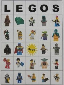 A LEGO (BINGO) for the older kids.  I could do just 4 down and 4 across for the Duplo toddler version!!!! Lego party