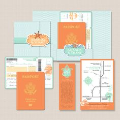 Passport Style Destination Wedding Invitation    Passport idea - don't like colours though!