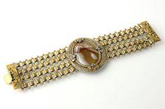 ANTIQUE Agate Bracelet with Book Chain Vintage by VintageCravens