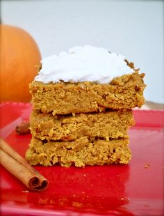 Grain-Free Pumpkin Pie Bars with Creamy Frosting