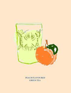 #green tea #peach #illustration #taki trik #fruit #drink #hot #healthy