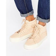 Vans Sk8-Hi Reissue Trainers In Neutral Leather (£45) ❤ liked on Polyvore featuring shoes, sneakers, sports trainer, high top slip on sneakers, skate shoes, slip-on sneakers and high top canvas sneakers