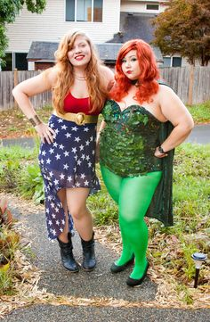 Poison Ivy and Wonder Woman Cosplay. Wish I could make a costume that would look as good as their's do.