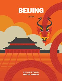 The viewbook cover. Design by Paul Cammilleri. Syracuse University, Study Abroad, Beijing, Cover Design, China, Illustration, Movies, Movie Posters, Films