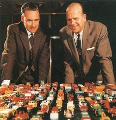 """John William """"Jack"""" Odell (on the left), creator of Matchbox cars with co-founder of Lesney Products, Leslie Charles Smith, who manufactured the cars"""
