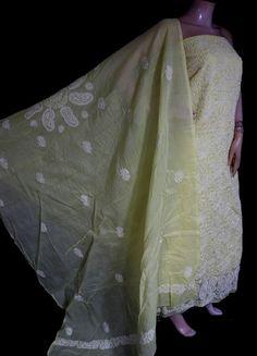 ISHIEQA's Yellow Cotton Chikankari Dress Material - MV0801D Types Of Stitches, Kurti, Kimono Top, Designers, Pure Products, Silk, Yellow, Fabric, Cotton