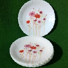 LUMINARC FESTON RED FLOWERS SPRINGTIME SWIRL 6 DESSERT PLATE SET MADE IN FRANCE