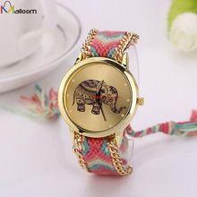 Assistir Mulheres Relógios Montre Femme Reloj Mujer Elefante Padrão Nacional Weave Pulseira de Ouro relógio de Quartzo Relógio Relogio alishoppbrasil