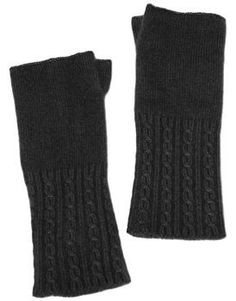 Charcoal Cashmere Cable knit Gloves Beautifully soft cashmere fingerless gloves to keep your hands and wrists warm and let you type, text and work at the same time.  One size.