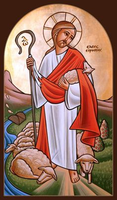Coptic Icon of the Good Shepherd: I am the good shepherd. A good shepherd lays down his life for the sheep. -John 10:11(NABRE)