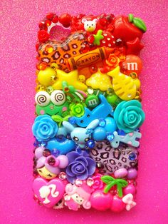 Rainbow Bright Decoden iPhone 4 Case by LUXYLOLI on Etsy, $90.00