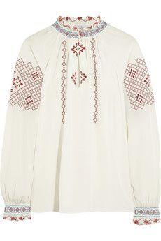 Vilshenko Matin embroidered silk crepe de chine blouse | NET-A-PORTER