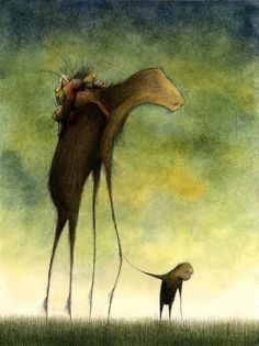 A Gentle Notion-fine art giclee print reproduction of an original watercolor and ink illustration