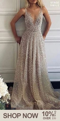 Sexy V-Neck Sparkling Evening Dress - Fashion evening &wedding dresses for women, good choice for party, beautiful design and plus size y - Dress Plus Size, Evening Dresses Plus Size, Evening Dresses For Weddings, Grad Dresses, Evening Gowns, Bridesmaid Dresses, Wedding Dresses, Sparkly Bridesmaids, School Dance Dresses