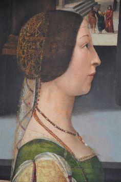 """DOMENICO GHIRLANDAIO E BOTTEGA - Violante Bentivoglio, dettaglio """"Pala di S. Vincenzo Ferreri"""" - 1493-1496 - Museo della Città di Rimini"""