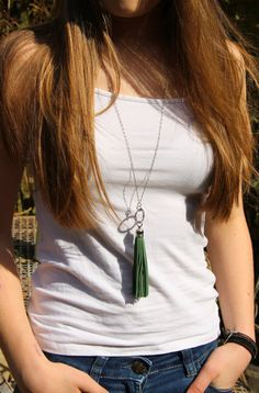 Long Silver Sea Green Leather Tassel by katydaydesigns on Etsy