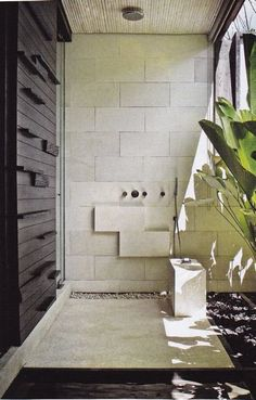 """outdoor shower...need to make less """"bali"""" style and more Hamptons...but ..."""
