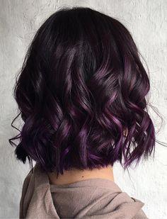 20 Dip Dye Hair Ideas - Delight for All! Wavy Black Bob With Purple Balayage Purple Dip Dye, Dip Dye Black Hair, Purple Balayage, Short Balayage, Spring Hairstyles, Bob Hairstyles, Black Hairstyles, Braided Hairstyles, Toddler Hairstyles