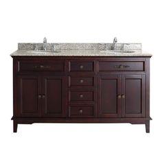 OVE Decors Dustin Tobacco Undermount Double Sink Birch Bathroom Vanity with Granite Top (Common: 60-in x 21-in; Actual: 60-in x 21-in)