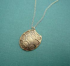 golden tortoise shell necklace 14kt gold by cravejewelrydesign, $26.00