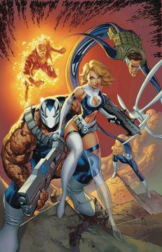 The Fantastic Four by J. Scott Campbell from his Return of The Fantastic Four variant cover for Weapon H (August Ms Marvel, Marvel Girls, Comics Girls, Marvel Heroes, Captain Marvel, Comic Book Characters, Marvel Characters, Comic Character, Comic Books Art