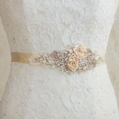 Champagne Bridal sash, Wedding dress belt, Narrow waist Cream Nude Ivory unique lace floral flowered vintage rustic shabby pearls rhinestone on Etsy, $158.00