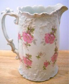 Pretty antique cottage rose milk pitcher
