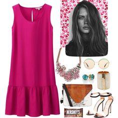 Bright Pink by roxanna-kingston on Polyvore featuring Uniqlo, Alexander Wang, Balmain, Miu Miu, Hershey's, GE and summerdress