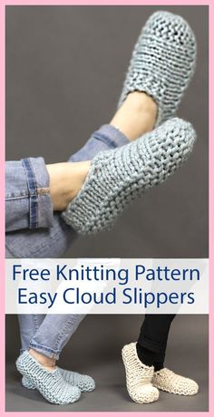 Free Knitting Pattern for Easy Cloud Slippers Knit Flat - Easy beginner slippers. Knitting , Free Knitting Pattern for Easy Cloud Slippers Knit Flat - Easy beginner slippers. Free Knitting Pattern for Easy Cloud Slippers Knit Flat - Easy beg. Knit Slippers Free Pattern, Knitted Slippers, Slipper Socks, Knitted Bags, Mens Slippers, Free Crochet Slipper Patterns, Knitted Bunnies, Crochet Shoes Pattern, Super Bulky Yarn