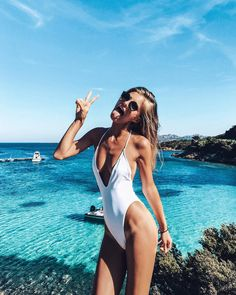 White One Piece Swim