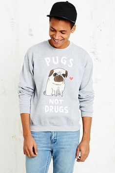 Gemma Correll Pugs Not Drugs Sweatshirt in Grey - Urban Outfitters
