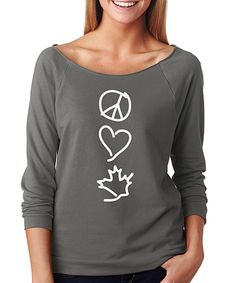 Look at this #zulilyfind! Charcoal 'Peace Love Leaf' Scoop Neck Tee - Plus by SignatureTshirts #zulilyfinds