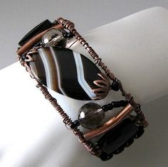 Freeform wire cuff bracelet, black agate and old penny copper