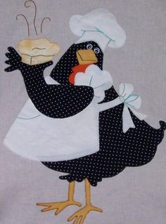 Crow chef with a pie Applique Templates, Applique Patterns, Applique Designs, Quilt Patterns, Wool Applique, Applique Quilts, Embroidery Applique, Chicken Crafts, Chicken Art