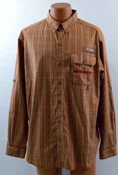 Columbia PHG Multi-Color Long Sleeve Button Front Vented Shirt mens Large Used #Columbia #ButtonFront