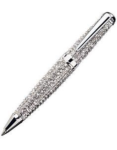 Jorg Gray Swarovski Crystal-Encrusted Ballpoint Pen with Textured Pen Case