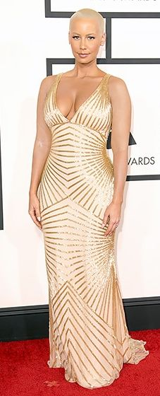 Amber Rose (with her tattoos covered!) wearing Naeem Khan at the 2014 Grammy Awards